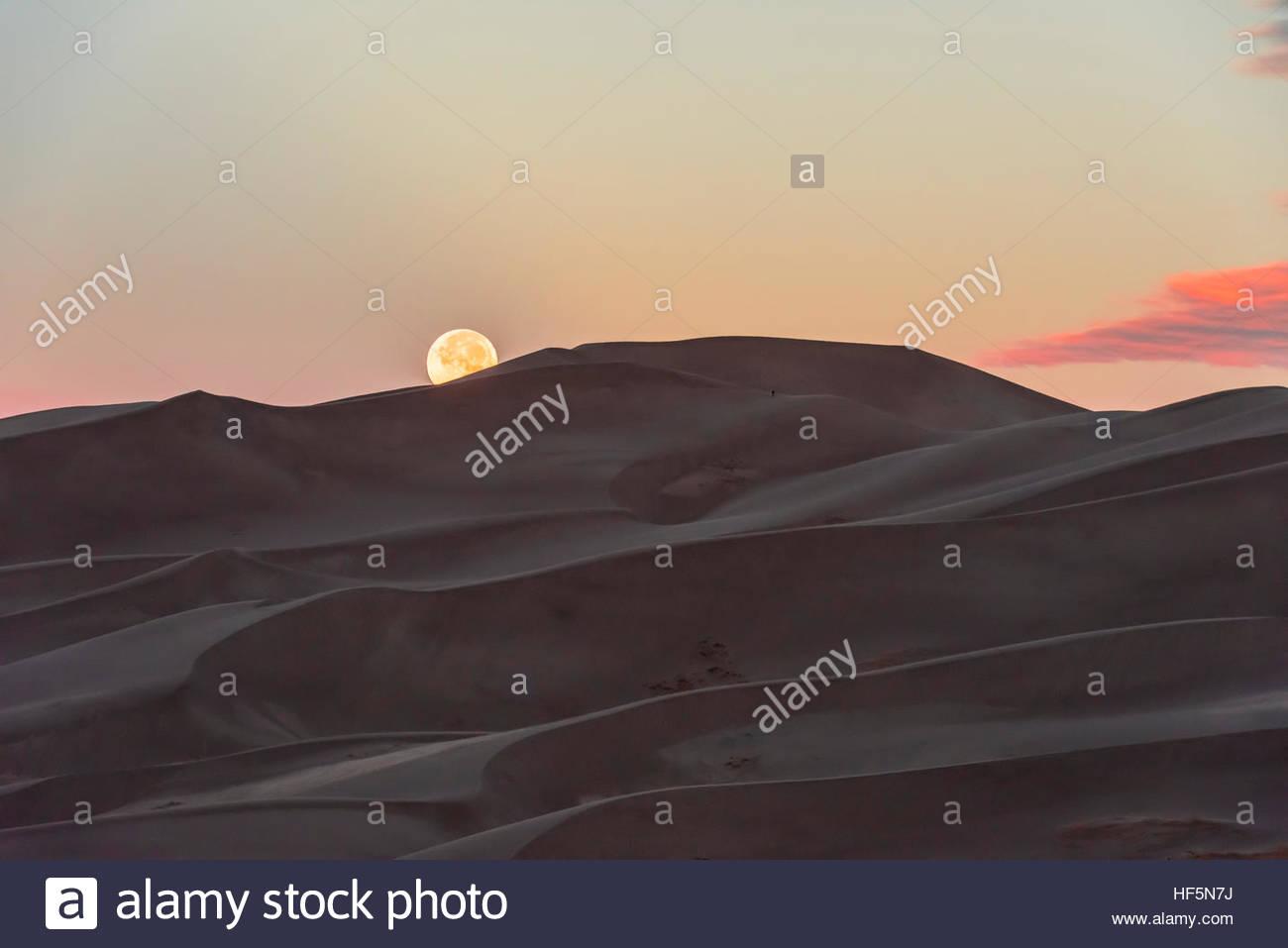 Der Vollmond über den 750 Fuß hohen Sanddünen, Great Sand Dunes National Park and Preserve, in der Stockbild