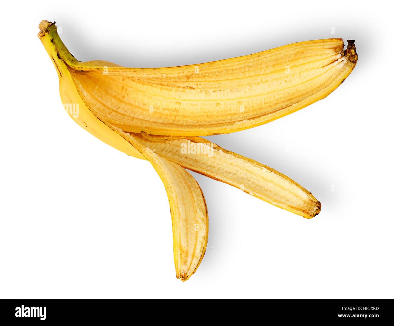 Bananenschale bereitgestellt horizontal isolierten auf weißen Hintergrund Stockbild