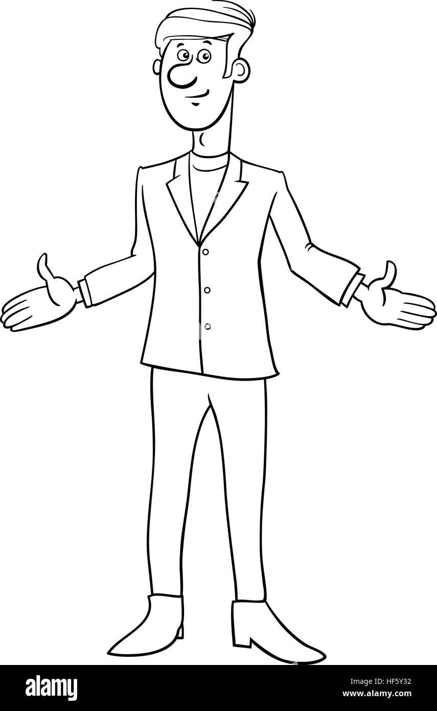 schwarz  weiß cartoon illustration der jüngling oder