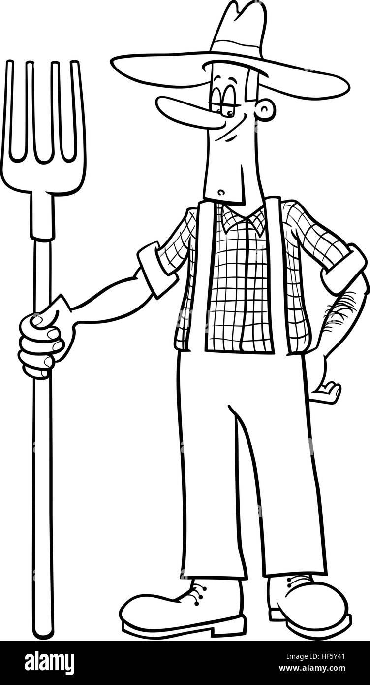 Schwarz Weiß Cartoon Illustration Der Landwirt Arbeiter Besatzung