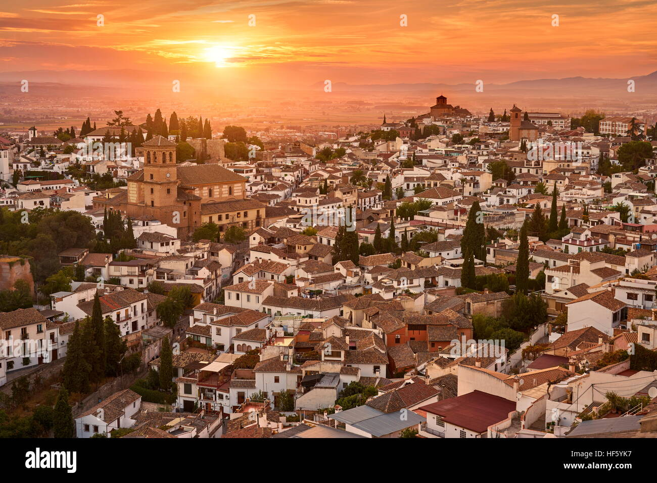Sonnenuntergang Stadtbild von Granada, Andalusien, Spanien Stockbild