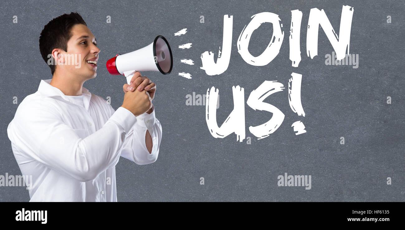 Join uns Einladung Team teilnehmen Sport Ausbildung junger Mann Megaphon Megafon Stockbild