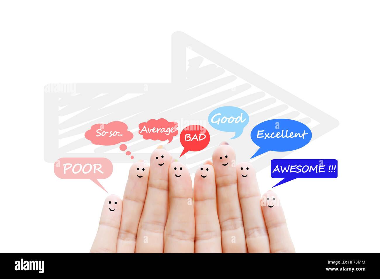 Kundenzufriedenheit Maßstab und Testimonials Konzept mit glücklich menschliche Finger Stockbild