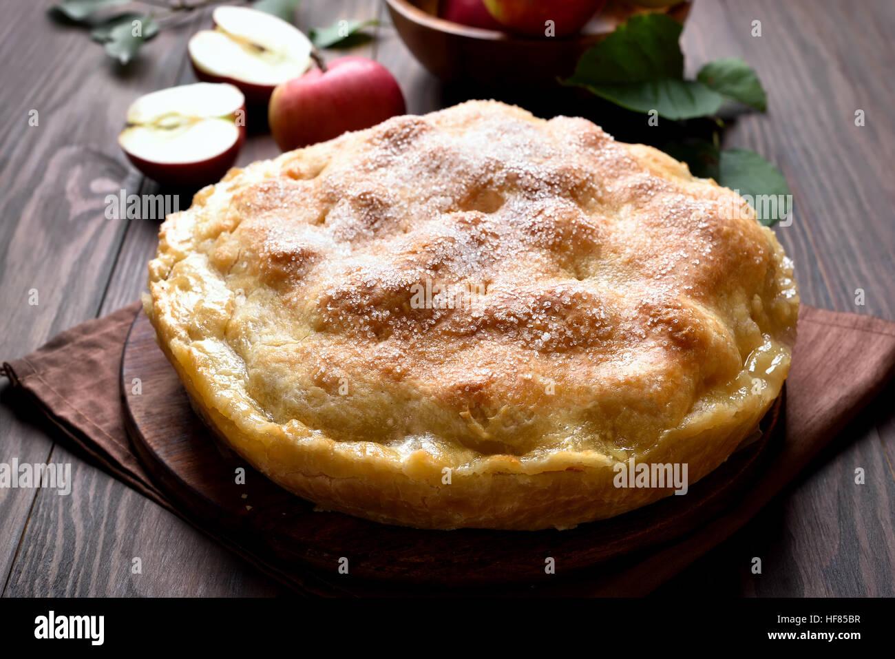 Apfelkuchen, Nahaufnahme Stockbild