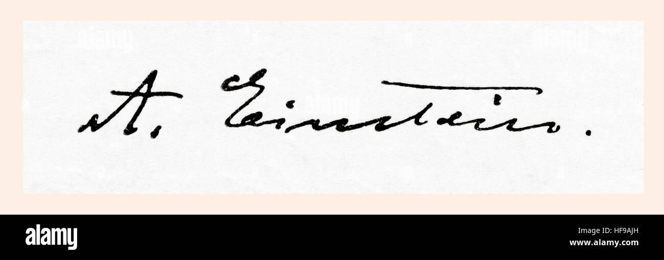 Unterschrift des Albert Einstein 1879 – 1955.  Deutsch-stämmige theoretischer Physiker.  Aus Meyers Lexikon veröffentlicht Stockfoto