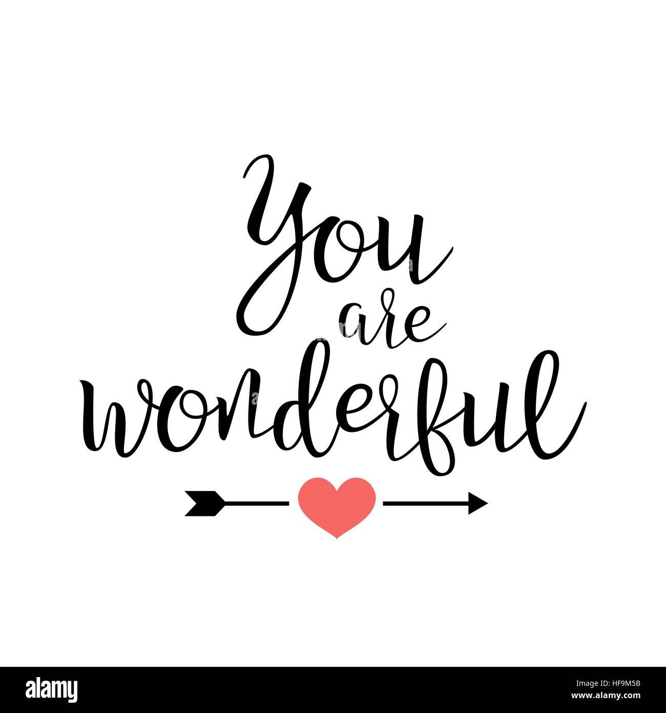Du Bist Wunderbar Handschriftlich Schriftzug Zitat Uber Liebe Fur Valentine S Day Design Hochzeitseinladung Druckbare Wandkunst Poster
