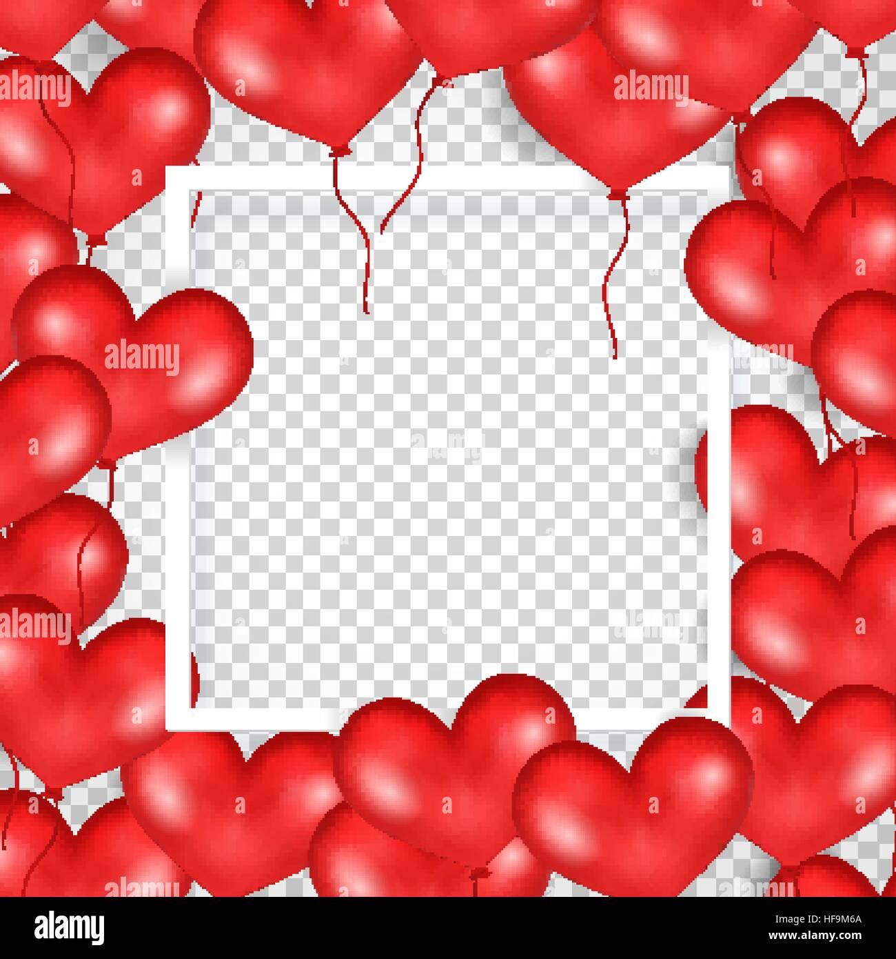 Rahmen mit roten Luftballons In Form von Herzen. Transparenten ...