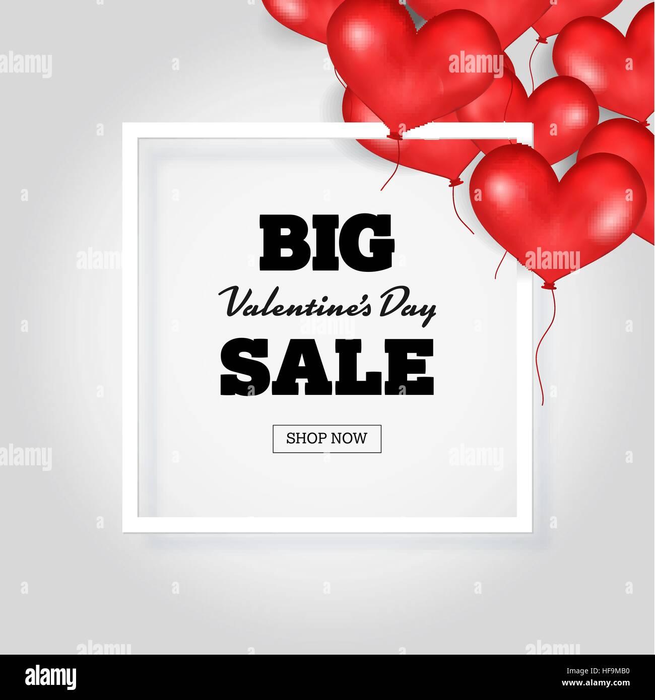 Großen Valentine s Day Sale Banner Vorlage. Weißer Rahmen. Platz für ...