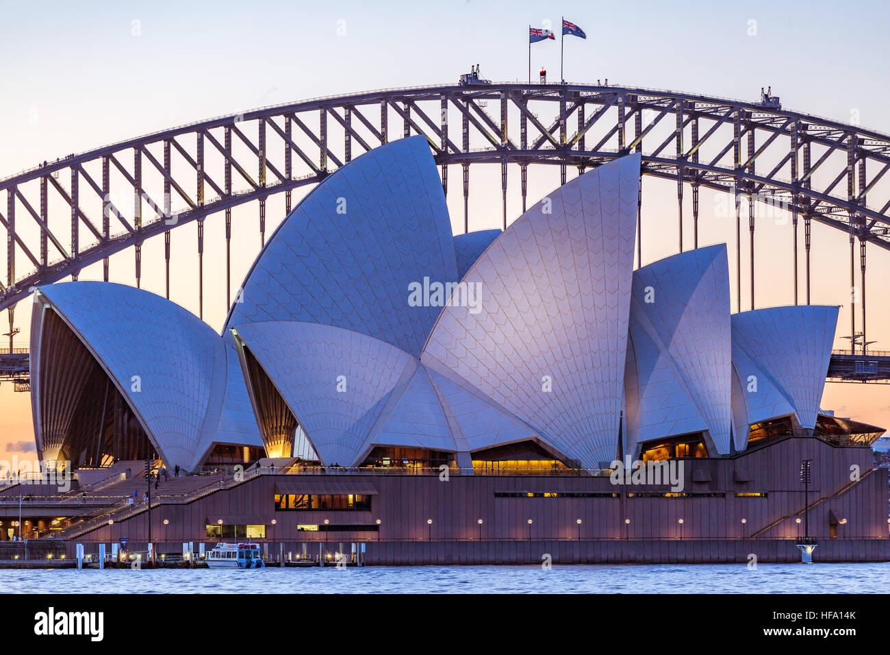 Sydney, Stadt Skyline bei Sonnenuntergang, Australien Stockbild