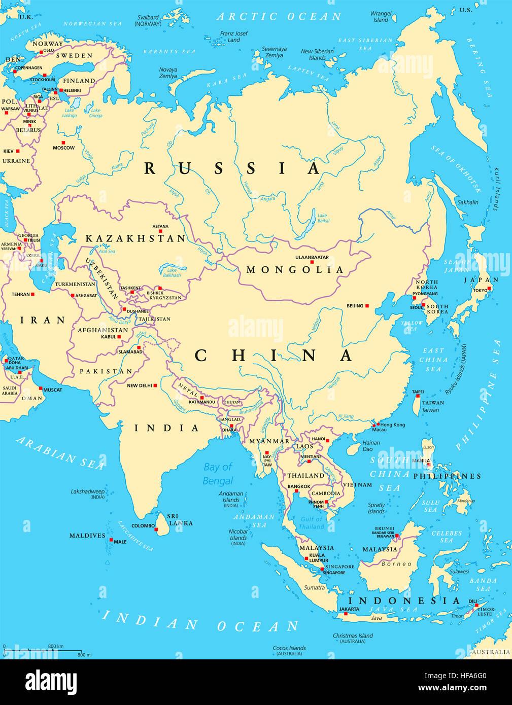 Stumme Karte Asien Lander Hauptstadte.Asien Politische Karte Mit Hauptstadten Landergrenzen