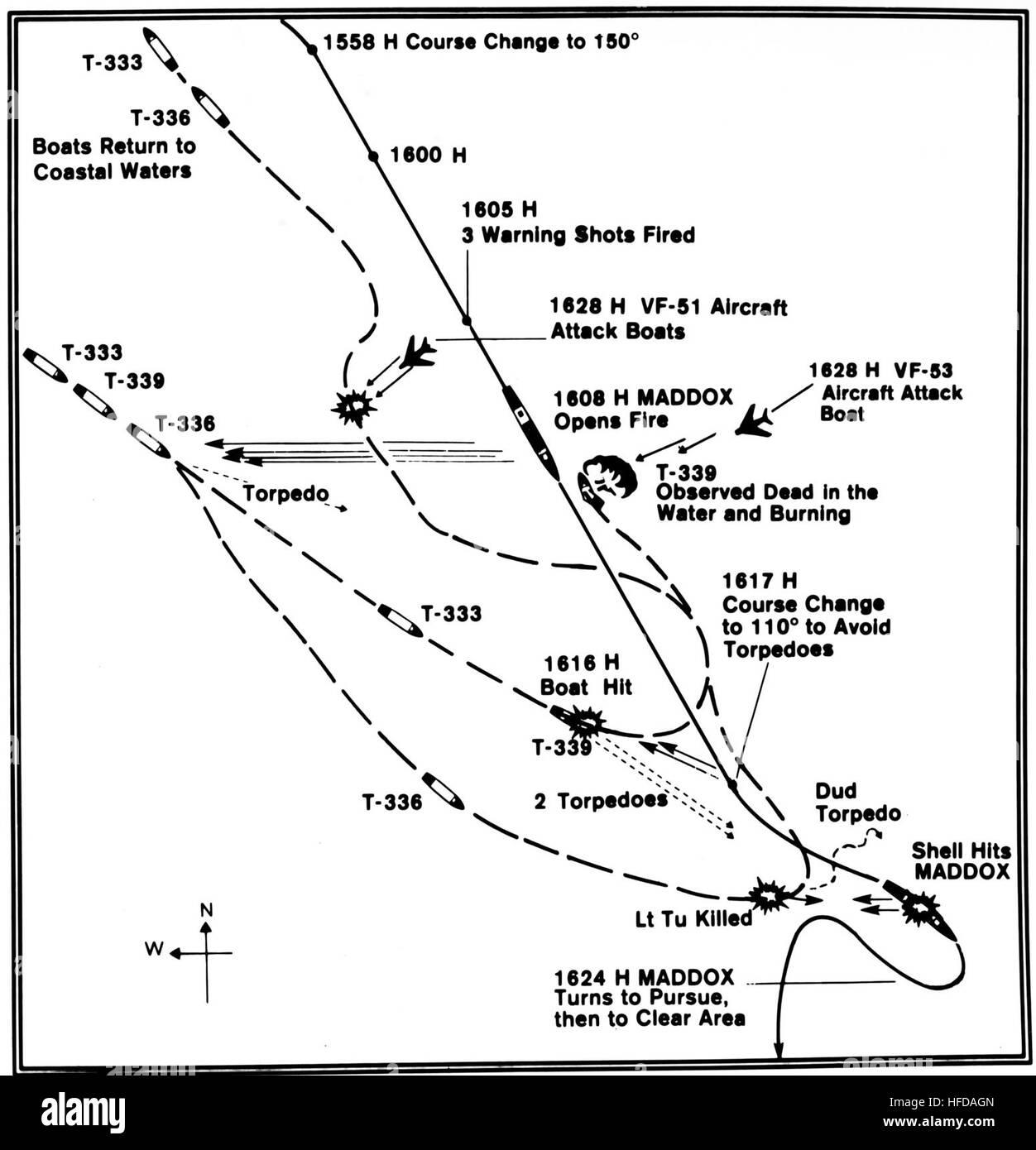 Verfolgen Sie Diagramm von der US Navy Zerstörer USS Maddox (DD-731 ...