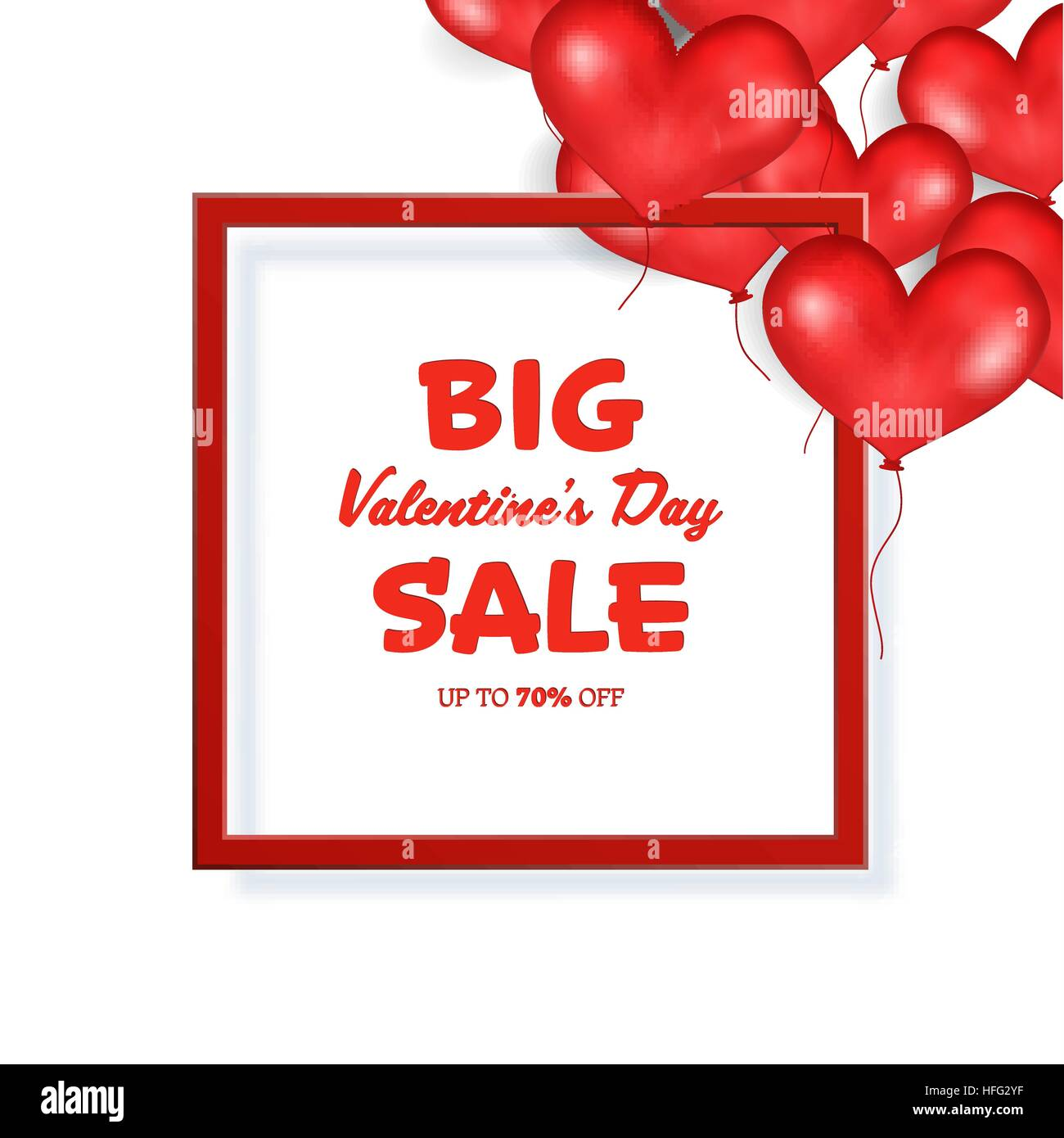Großen Valentine s Day Sale Banner Vorlage. Roter Rahmen. Platz für ...