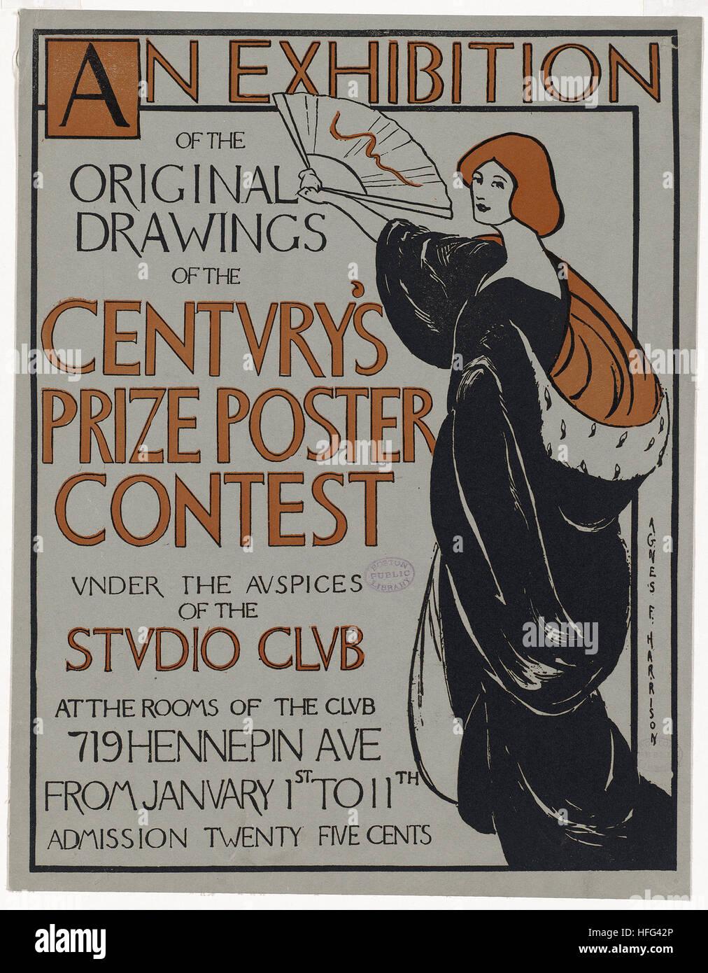Eine Ausstellung mit Originalzeichnungen des Jahrhunderts Preis Plakat-Wettbewerb unter der Schirmherrschaft des Stockbild