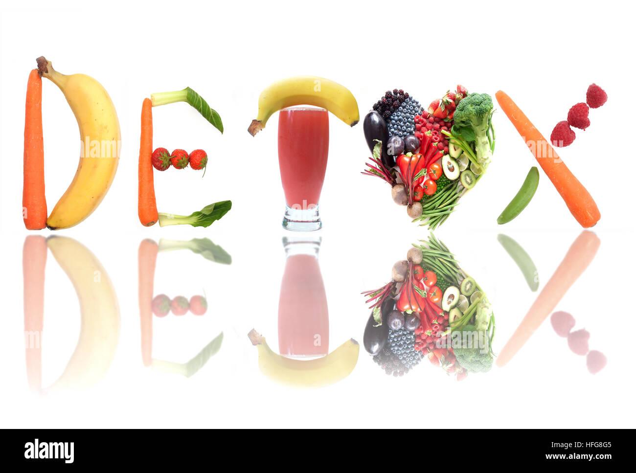 Detox Text Buchstaben wie Obst, Gemüse und ein Smoothie Getränke und ...