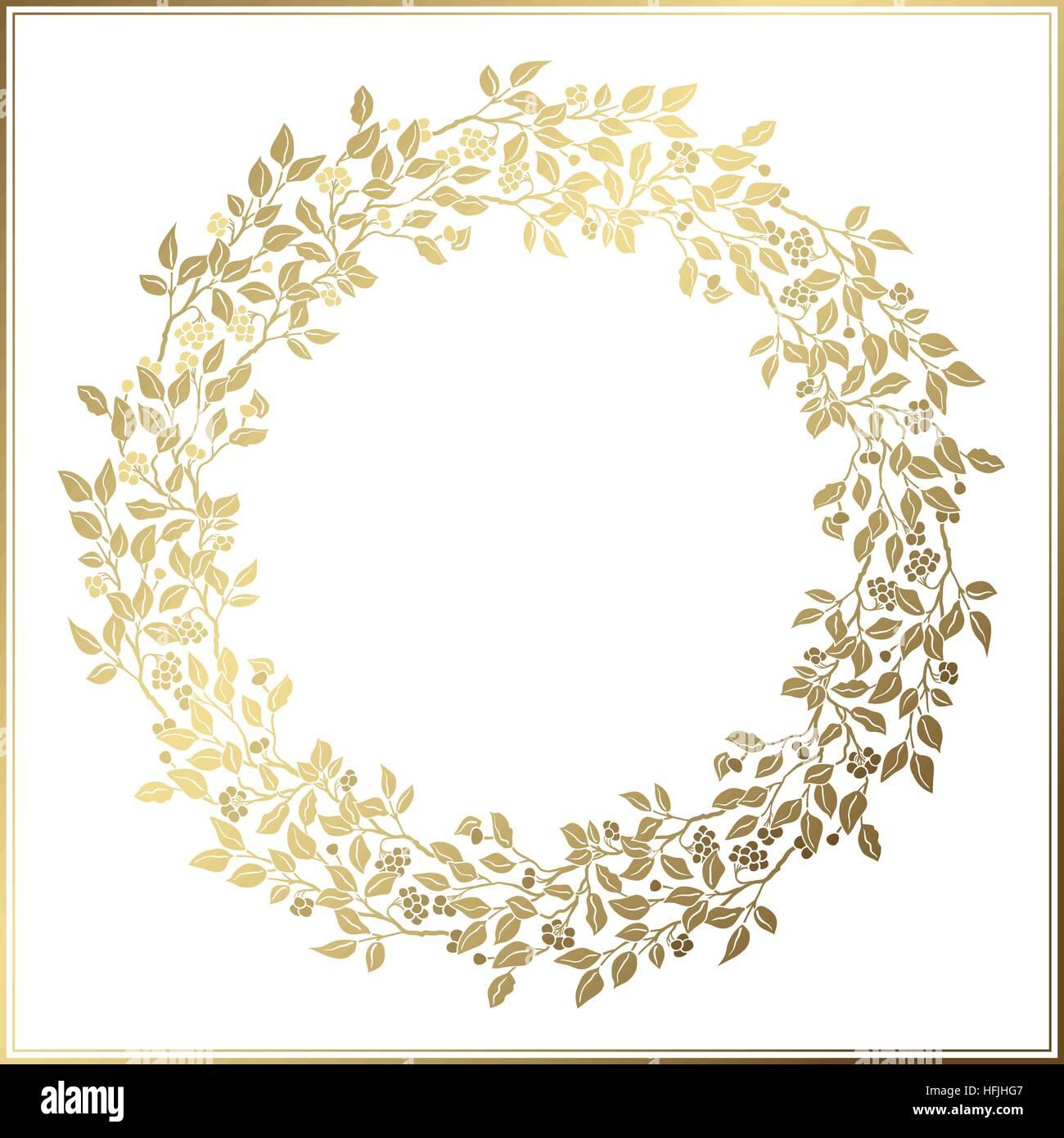 sch ne vintage kreis rahmen hochzeit dekor durchbrochene vorlage goldene bl tter und beeren. Black Bedroom Furniture Sets. Home Design Ideas