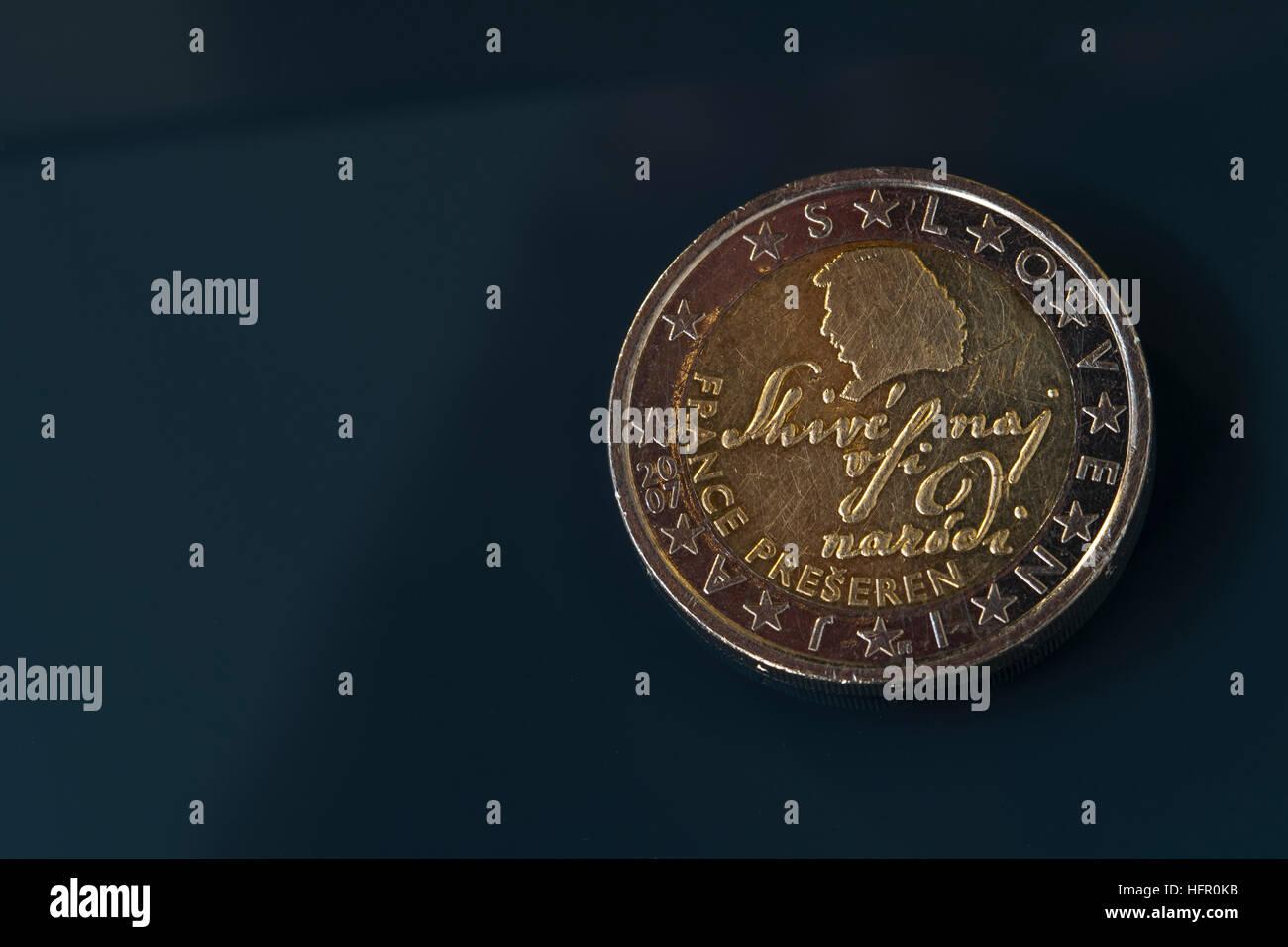 2 Euro Münze Slowenien Darstellung Berühmten Dichter France