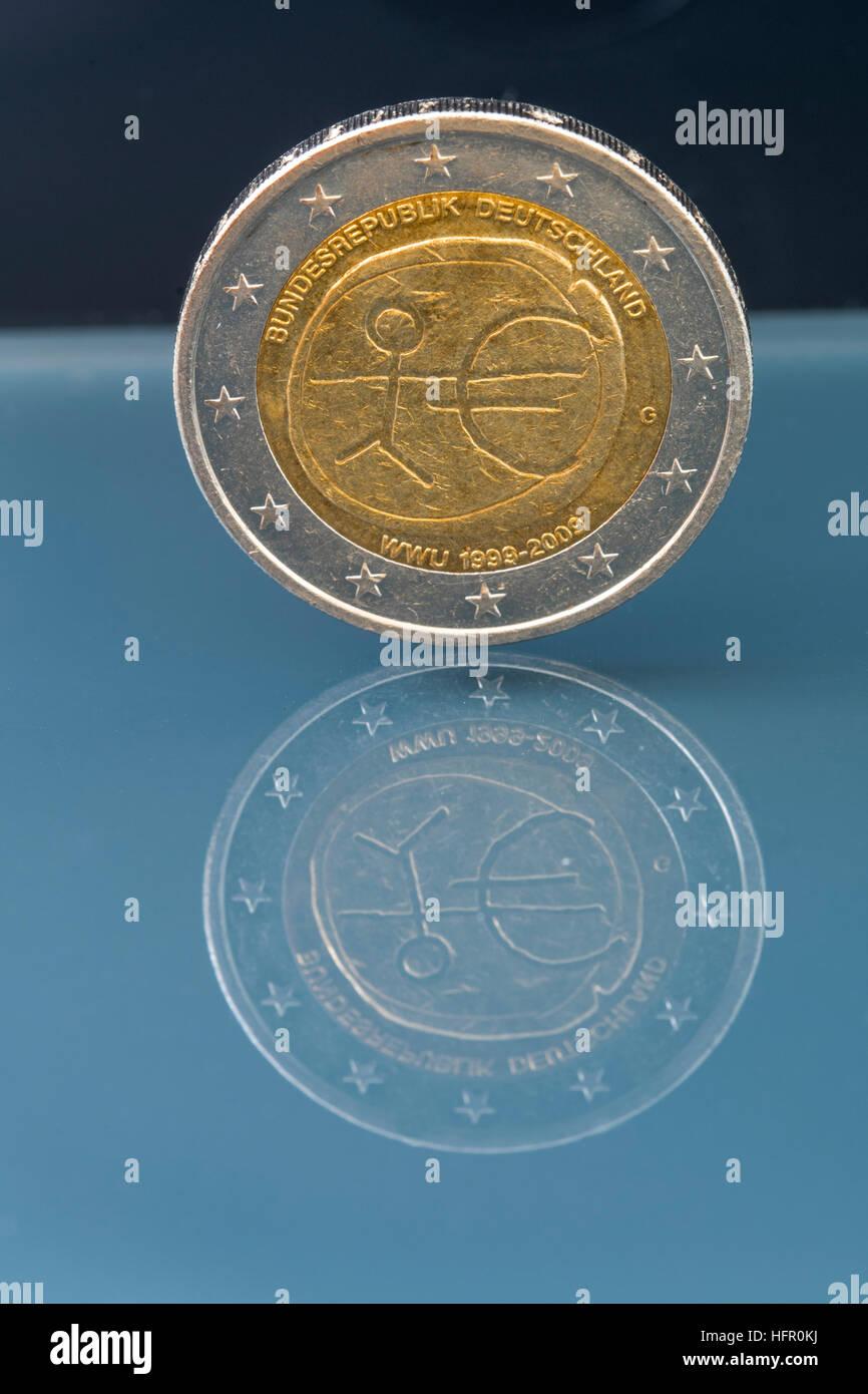 Gedenkmünzen 2 Euro Münze 10 Jahrestag Der Europäischen Wirtschafts