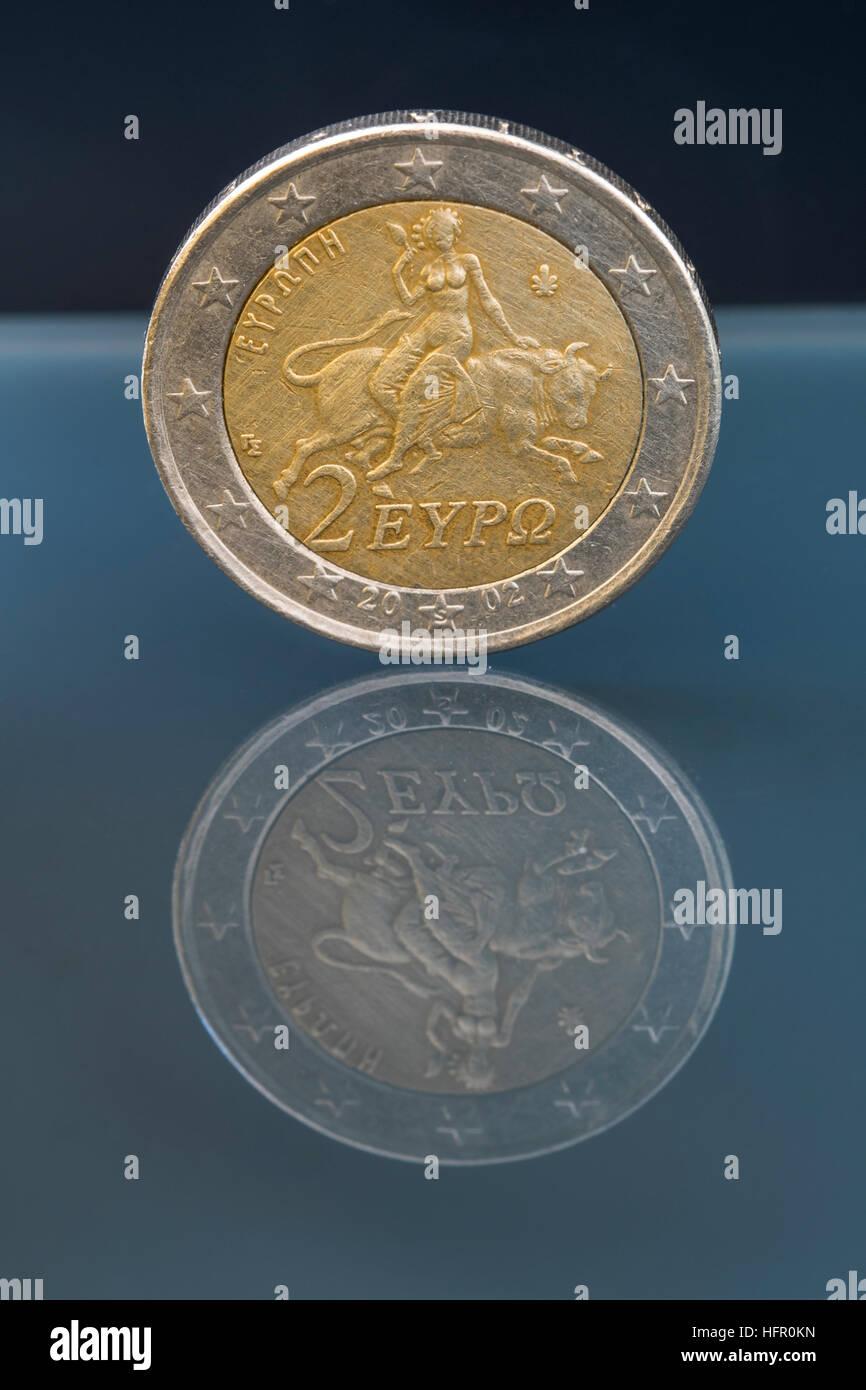 Zwei 2 Euro Münze Aus Griechenland Regelmäßige Minze Europa Den