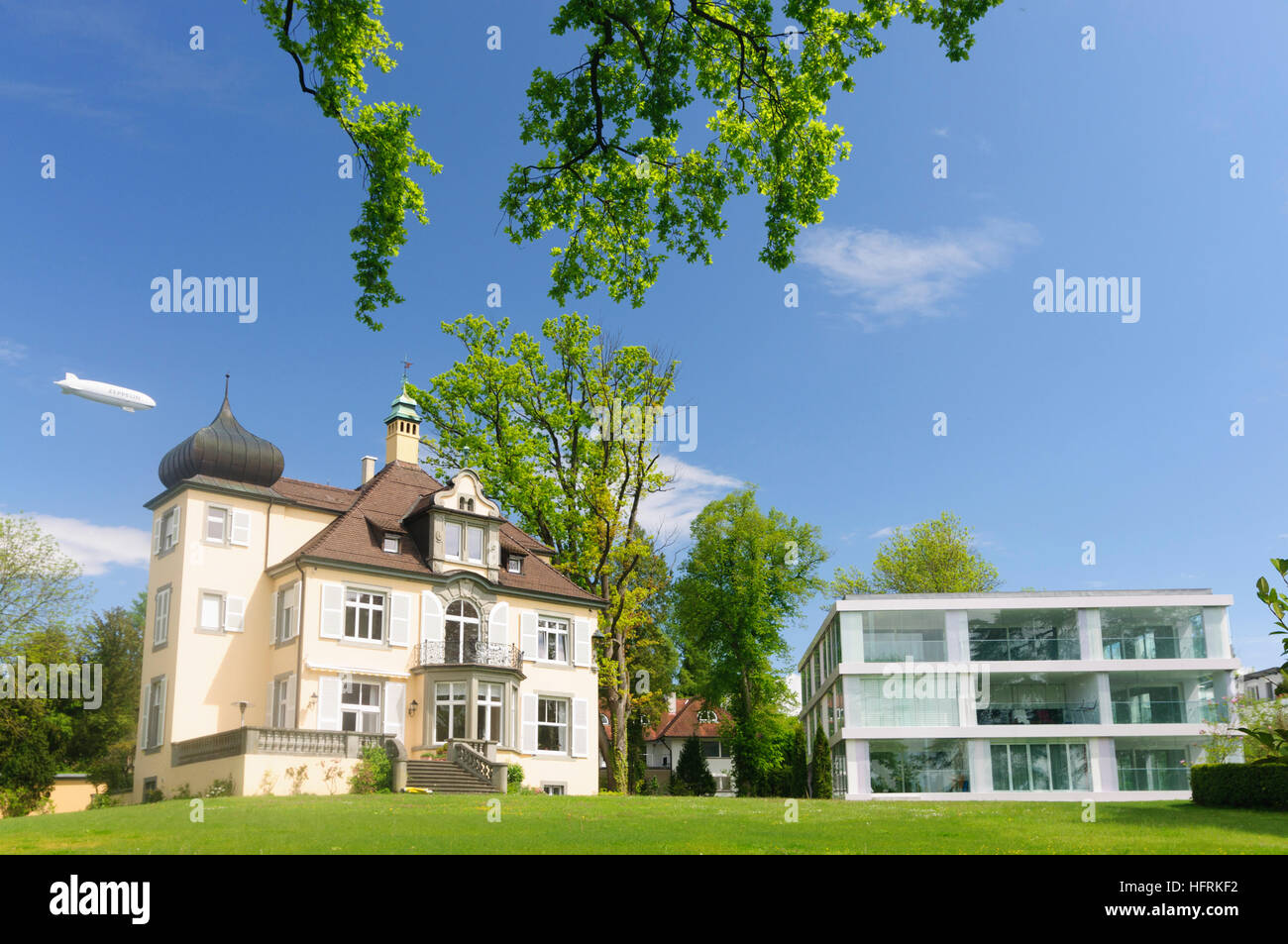 Konstanz, Constance: Villen Mit Zeppelin NT, Bodensee, Bodensee ...