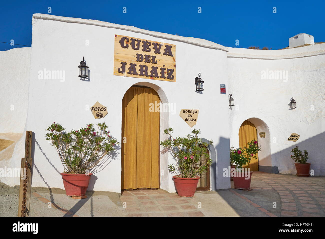 Spanien - Höhlenwohnungen Höhlenwohnungen, Guadix, Andalusien Stockbild