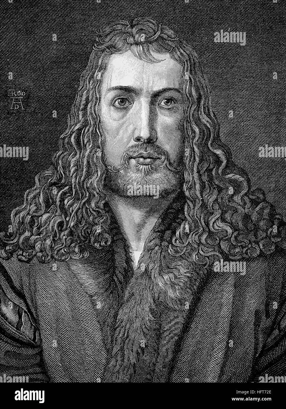 Albrecht Duerer, 1471-1528, Maler, Grafiker und Theoretiker der deutschen Renaissance, Selbstporträt mit 28, Stockbild