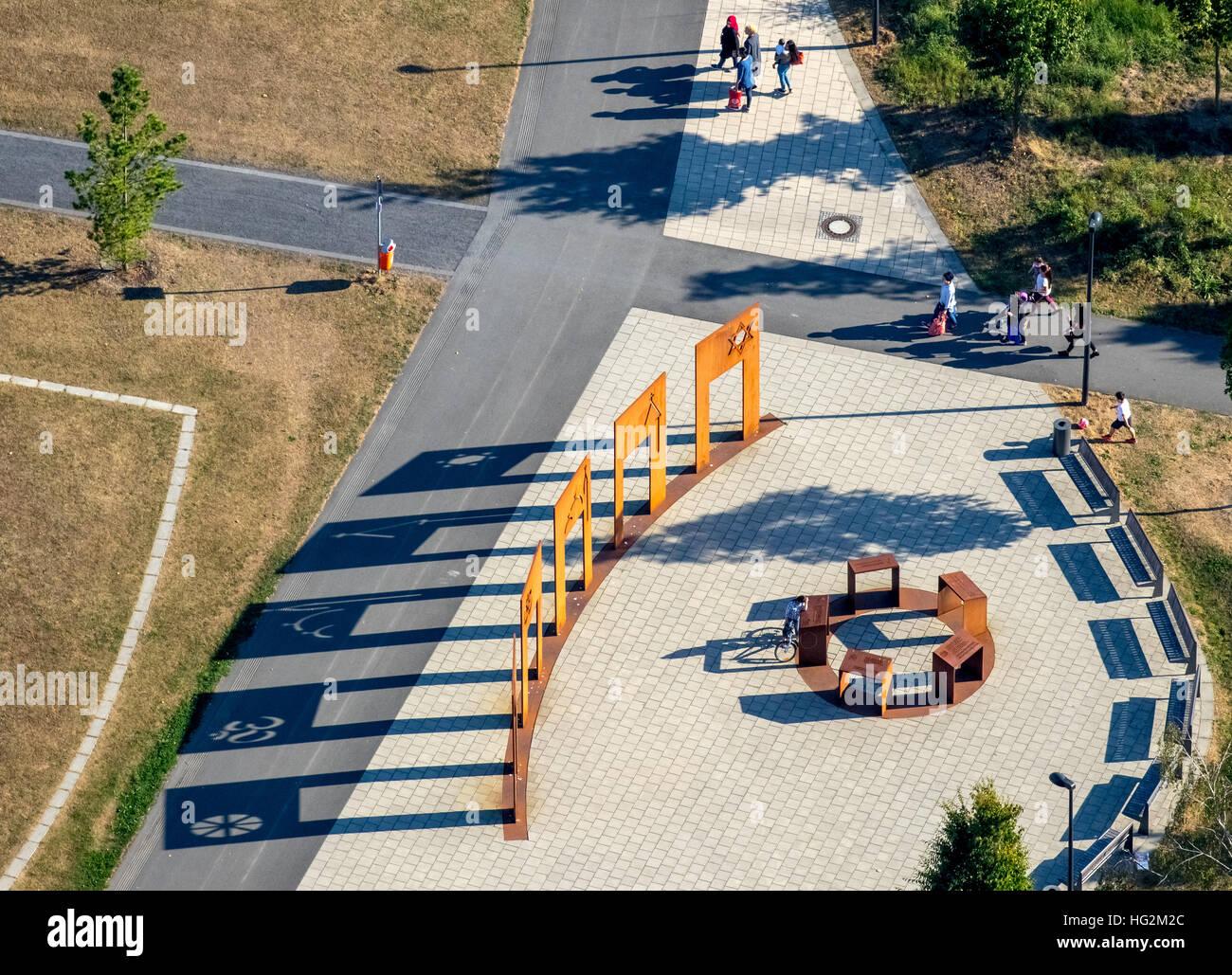 Luftaufnahme, Denkmal der fünf Weltreligionen Judentum, Christentum, Islam, Hinduismus, Buddhismus, Lippe Park Stockbild