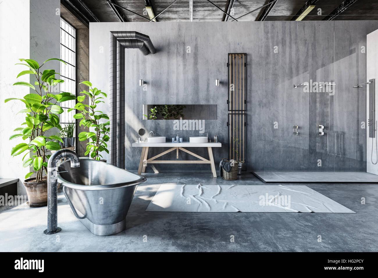 Krassen Graue Badezimmer Interieur Eines Umgebauten Industrielle Lofts Mit  Hipster Metall Roll Top Badewanne Und Große Frischgrün Topfpflanzen Vor  Hohen