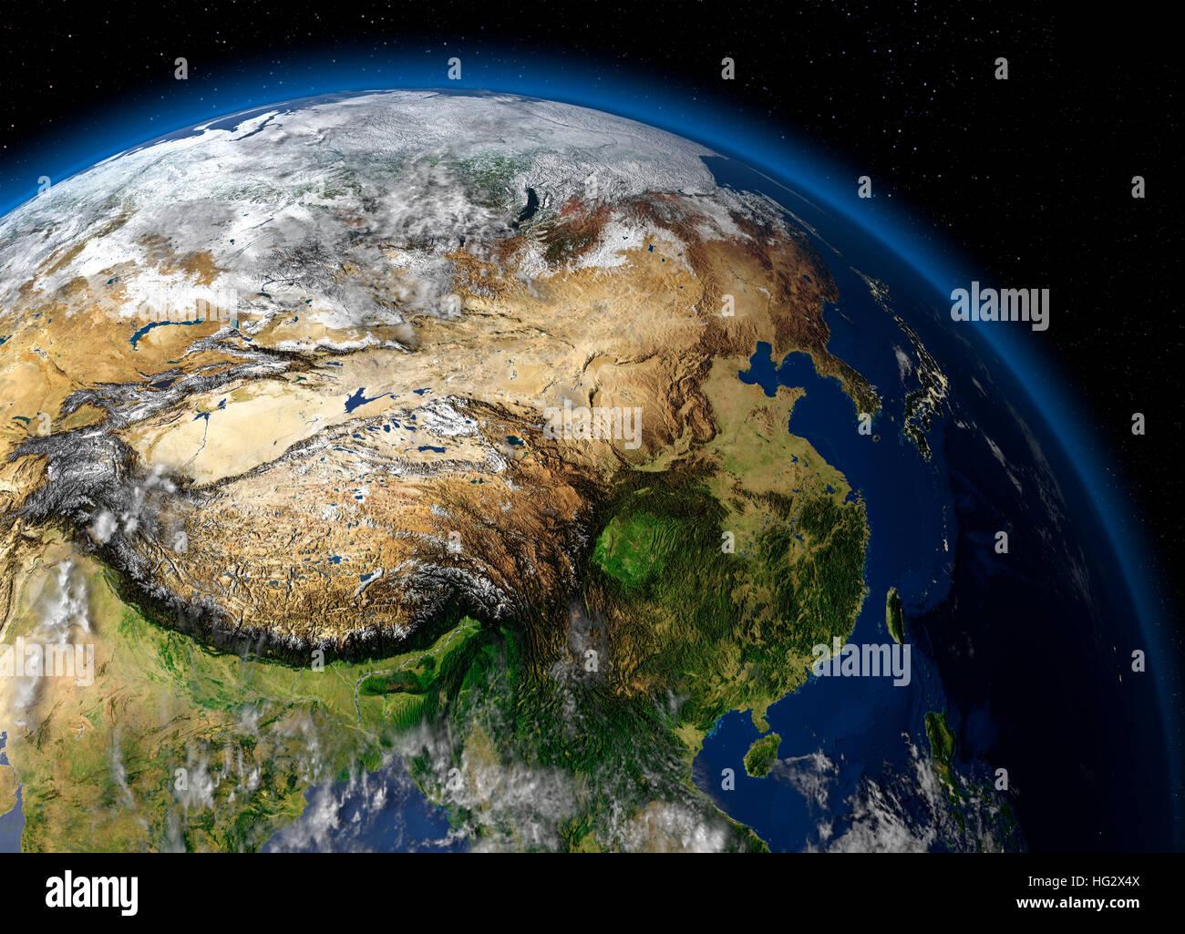 Erde aus dem Weltraum zeigt China angesehen. Realistische digitale Illustration einschließlich Reliefkarte Stockbild