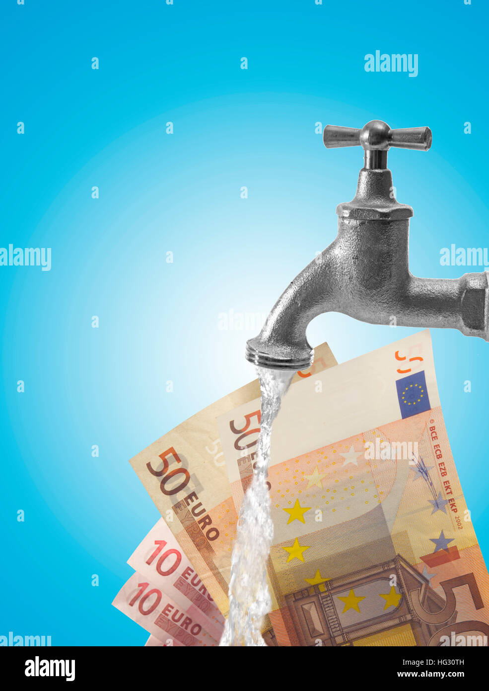 Wasser Hahn Hahn Und Euro Scheine Komponieren Schuss Symbol Fur