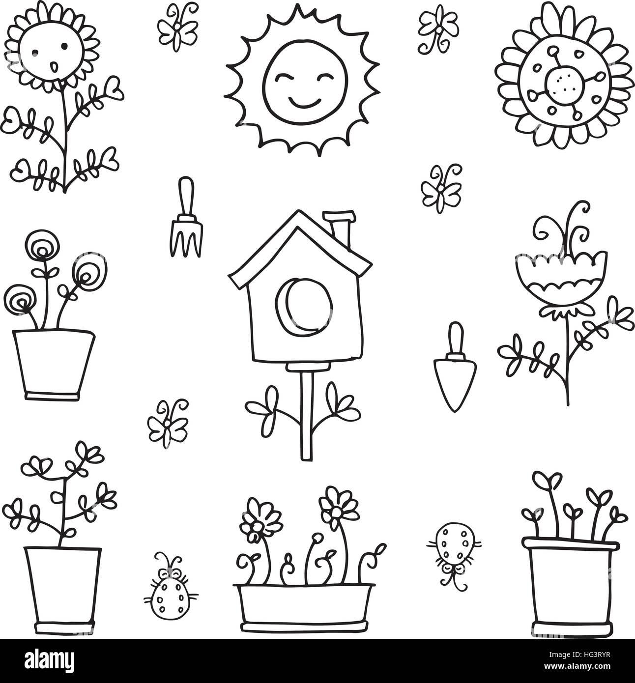 Doodle Fruhling Elements Mit Der Hand Zeichnen Vektor Abbildung