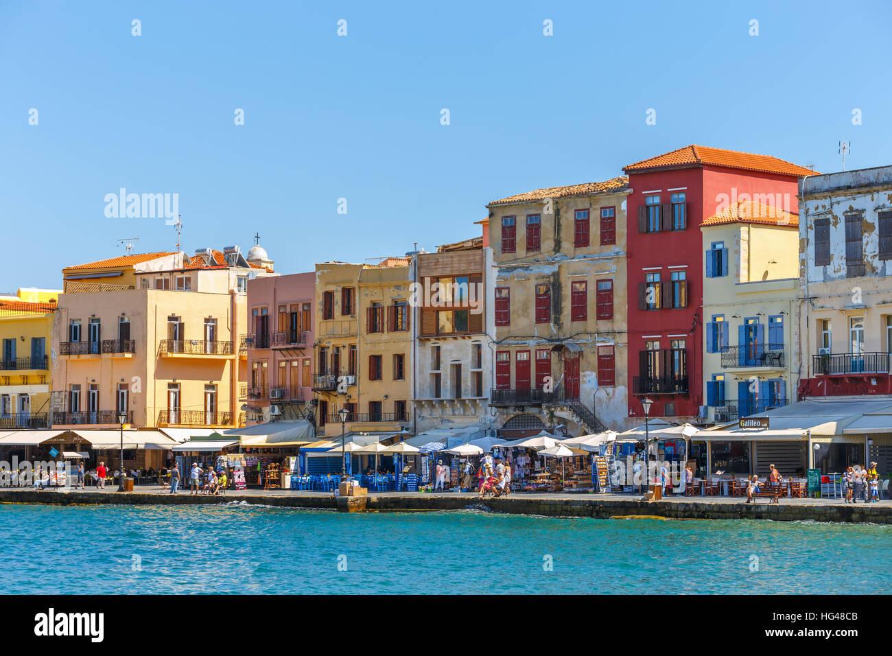 Chania Kreta 25 Maj 2016 Blick Auf Den Alten Hafen In Chania