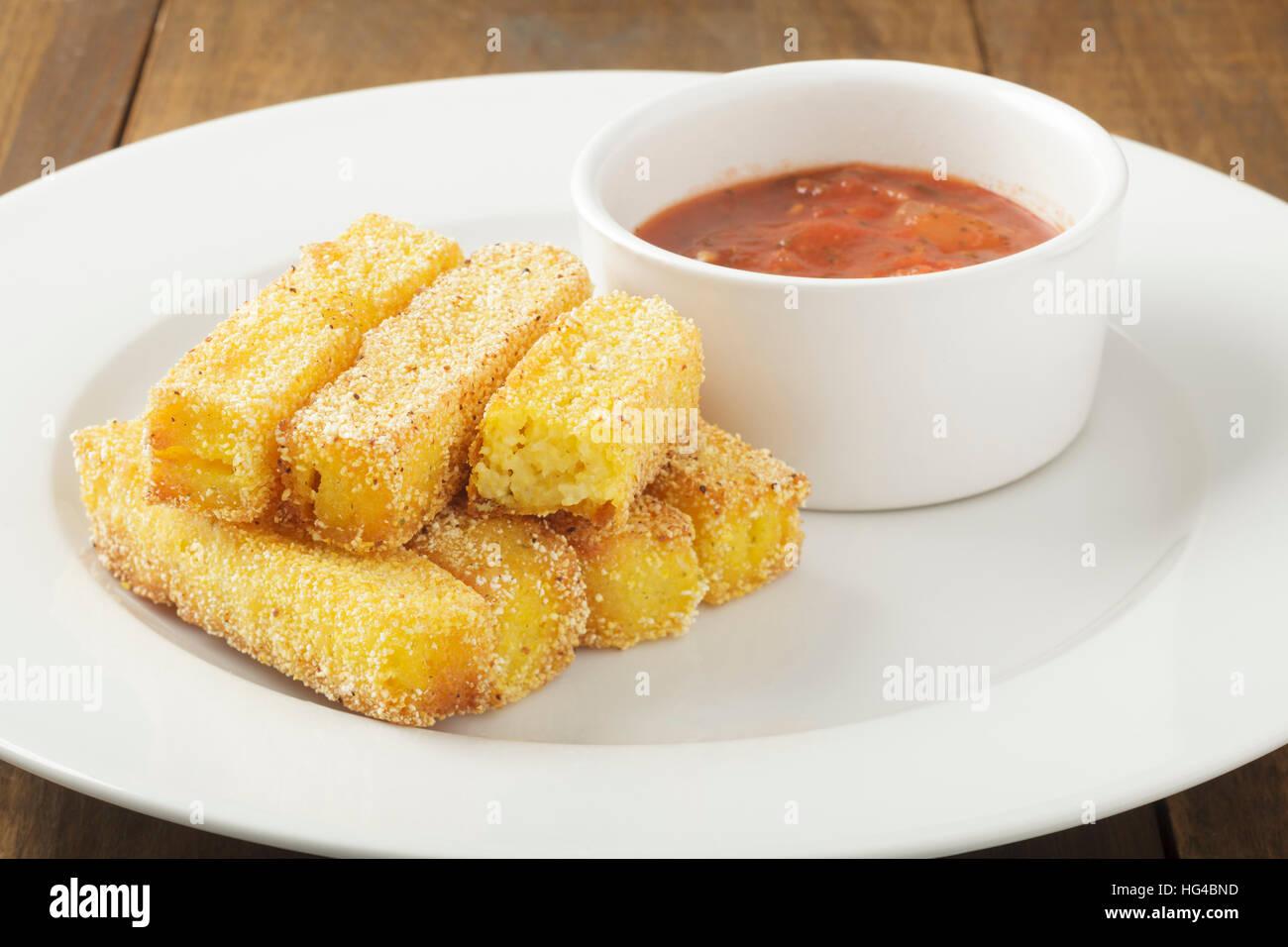 Polenta Pommes / chips Stockbild