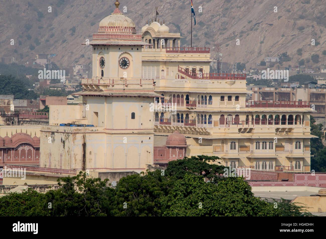 landschaft der stadt jaipur in indien die draufsicht einer landschaft architektur haus. Black Bedroom Furniture Sets. Home Design Ideas
