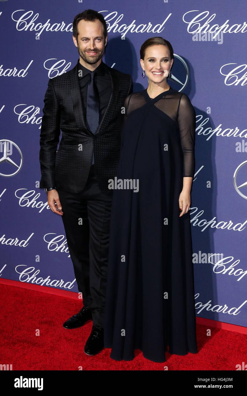 3. Januar 2017 - besuchen Palm Springs Benjamin Millepied, Natalie Portman der 28. jährlichen Palm Springs Stockbild