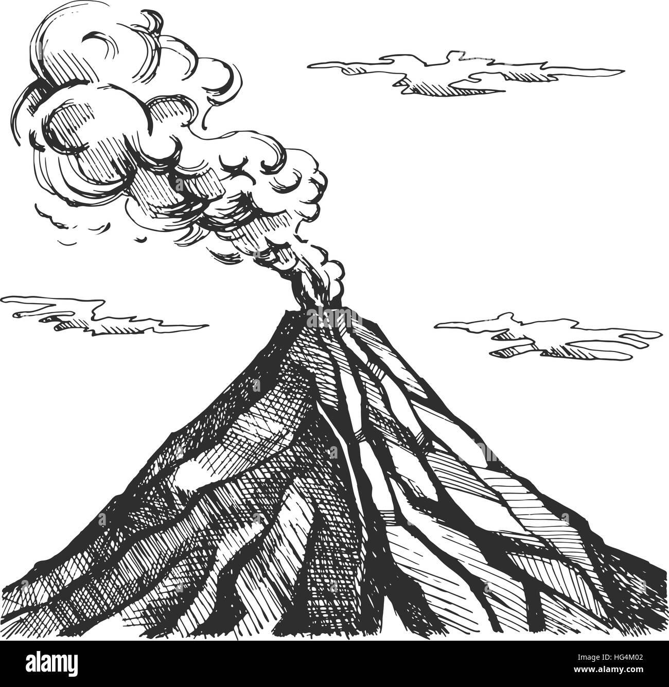 Active Volcano Vector Vectors Stockfotos Active Volcano Vector