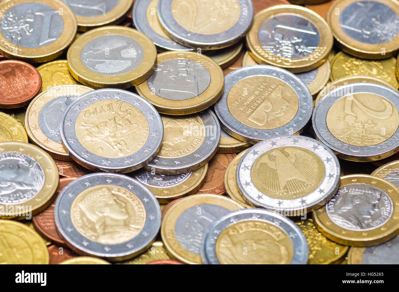 Hintergrund Hergestellt Aus Verschiedenen Ländern Euro Münze