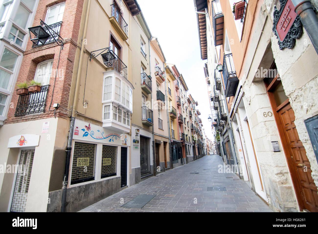 Eine Straße von Vitoria, Spanien. Stockbild