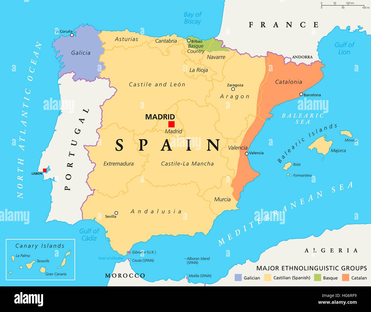 Autonome Regionen Spanien Karte.Autonome Gemeinschaften Von Spanien Karte Administrative