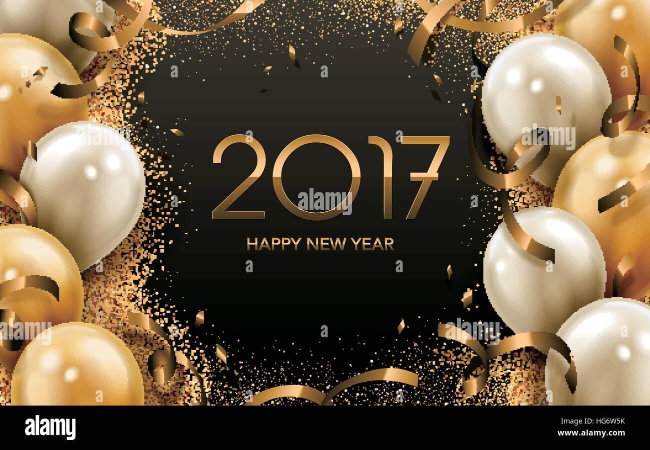 2017-Happy New Year-Kalligraphie mit goldenen und weißen Ballon ...