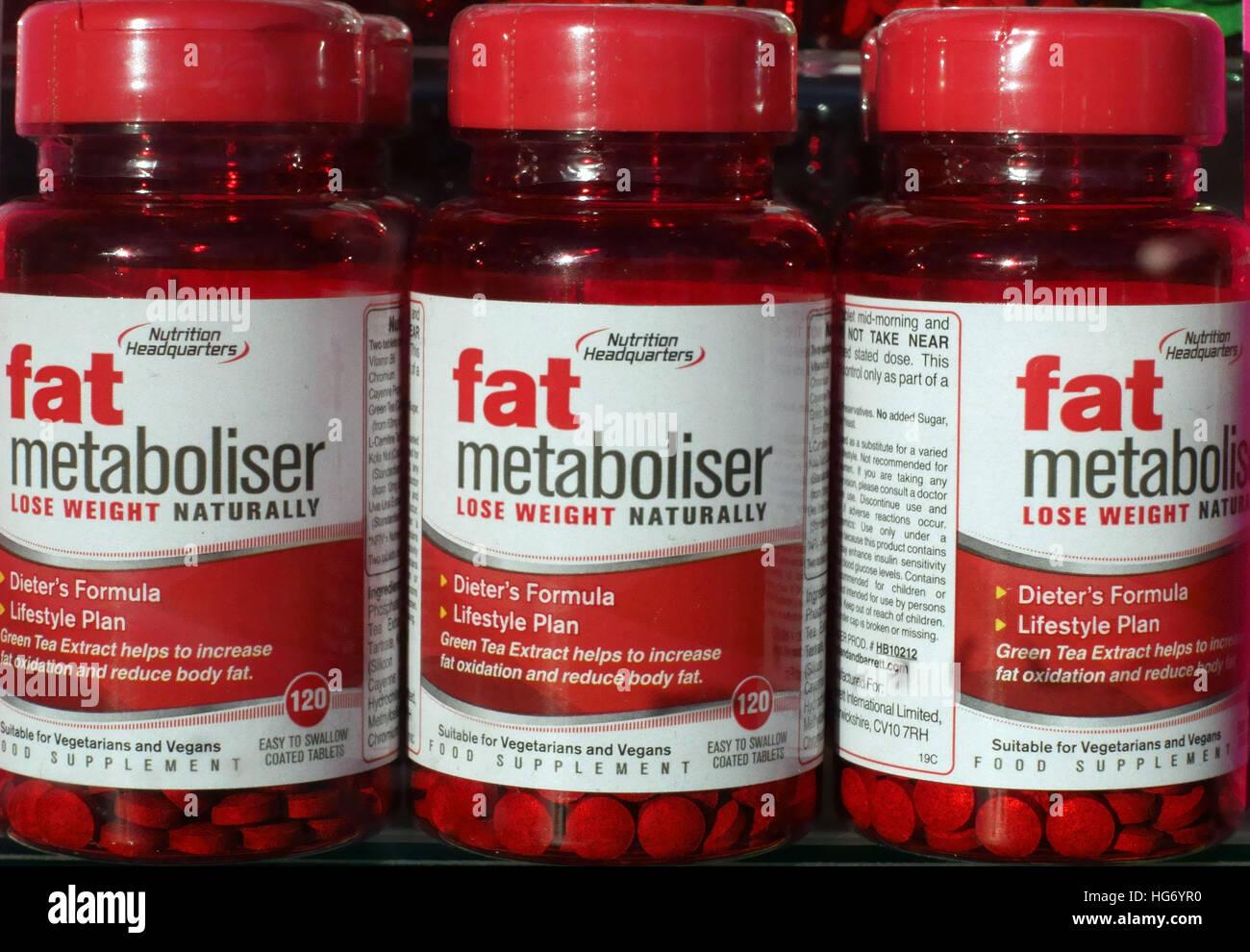 Flaschen von Fat Metaboliser Gewicht Verlust Tabletten, London Stockbild