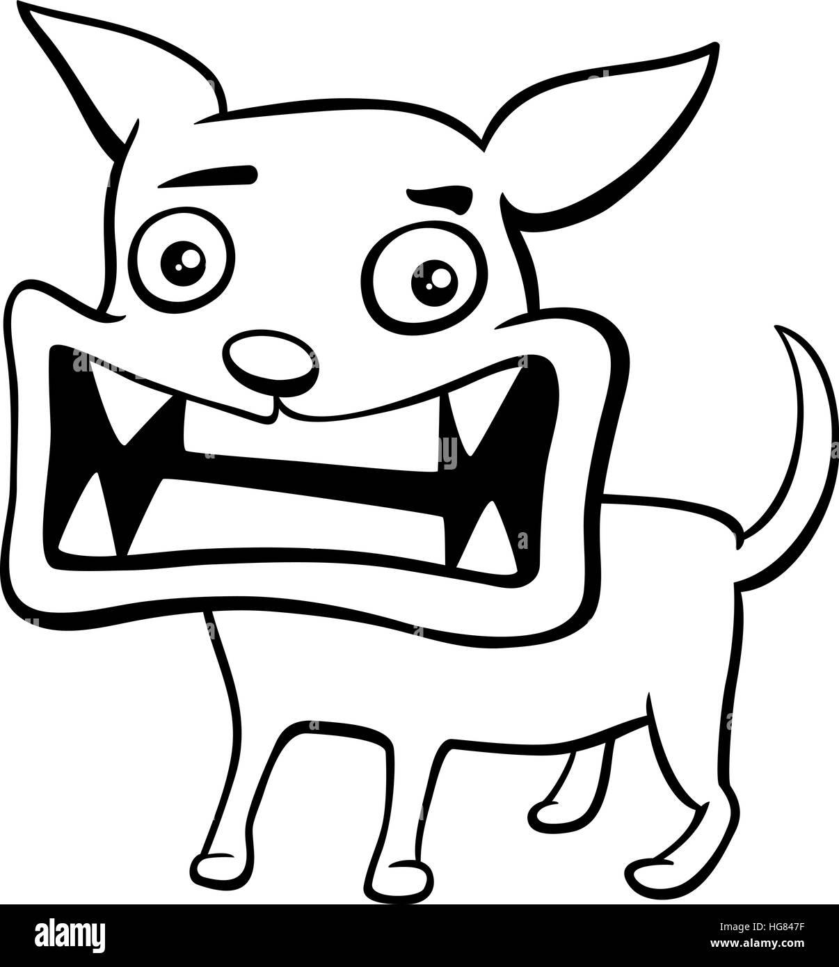 Schwarz / Weiß Cartoon Illustration von böser Hund oder Welpe Tier