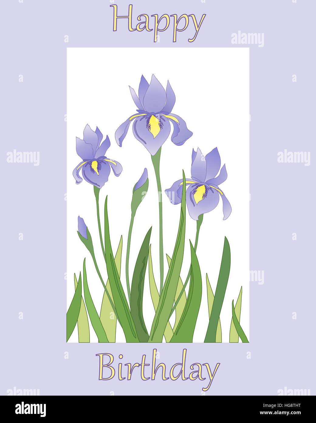 Geburtstagswünsche Karte Geburtstag.Ein Beispiel Für Eine Geburtstagskarte Mit Iris Blumendesign Auf