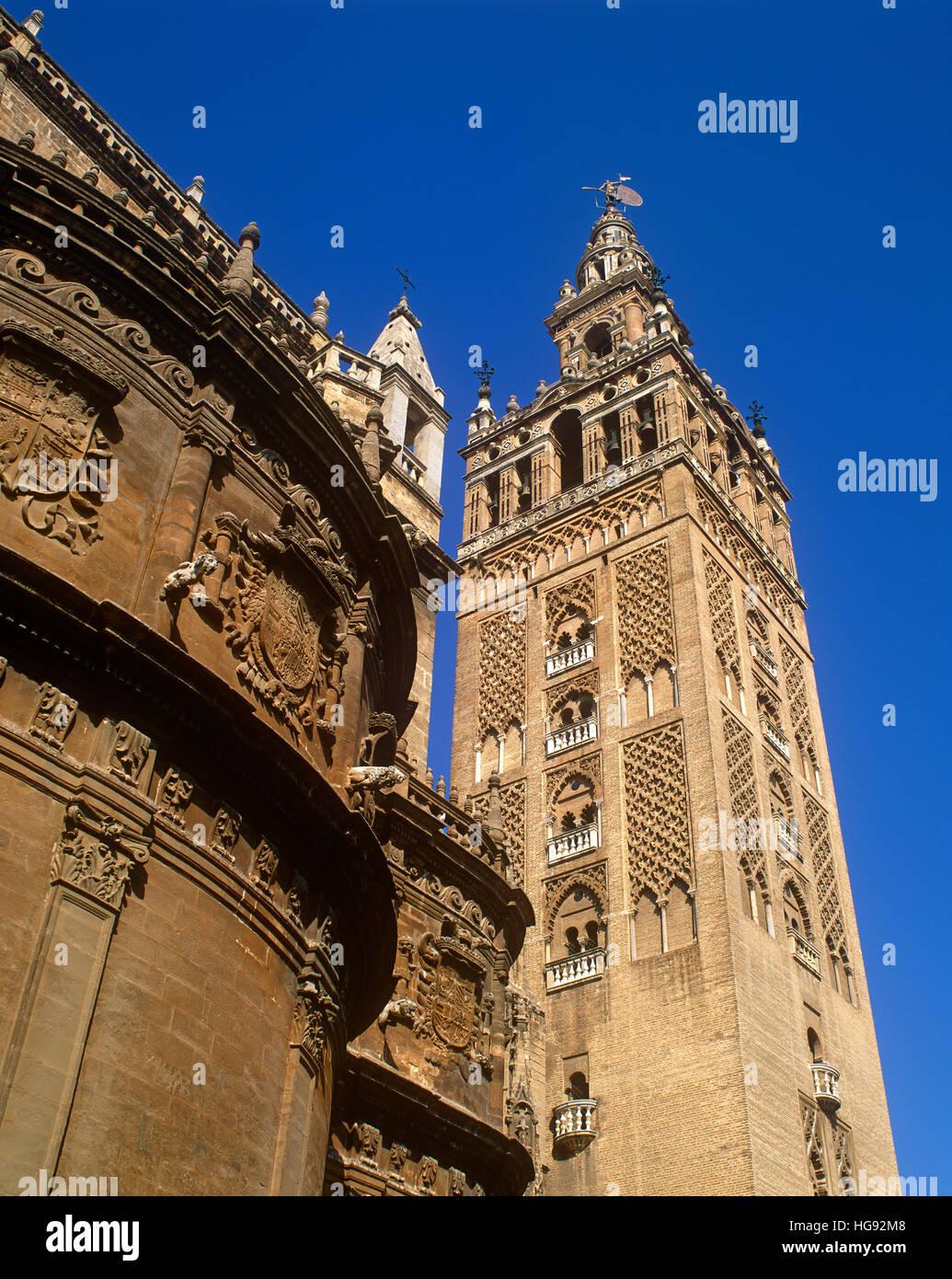 Die Giralda Turm, Sevilla, Andalusien, Spanien Stockbild