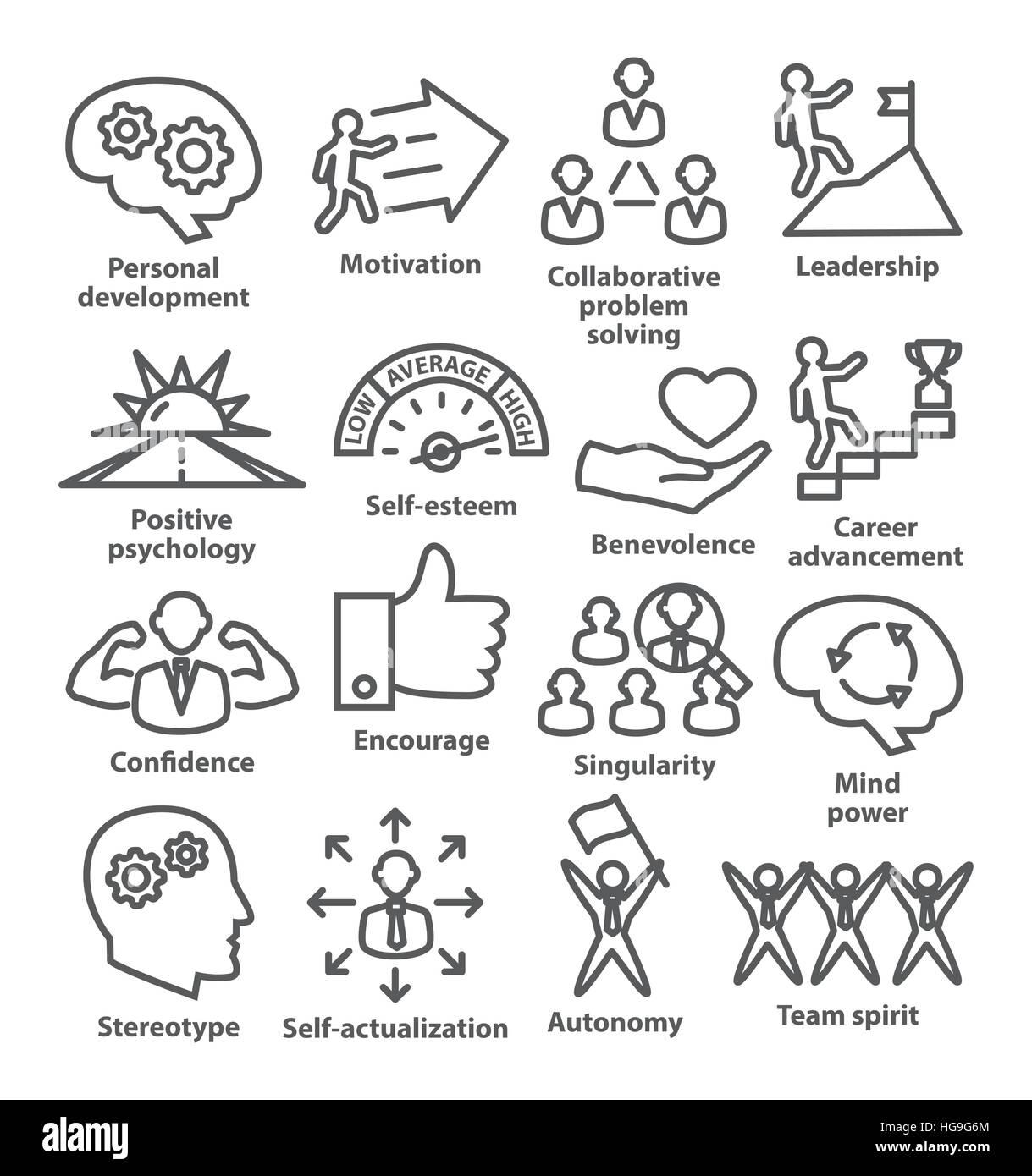 Business Management-Symbole im Linienstil. 16 zu packen. Stockbild