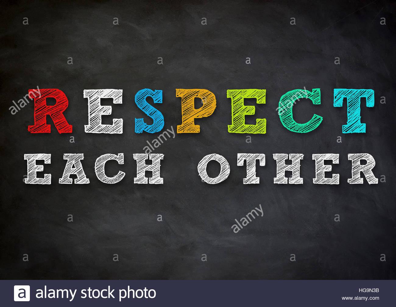 einander respektieren Stockbild