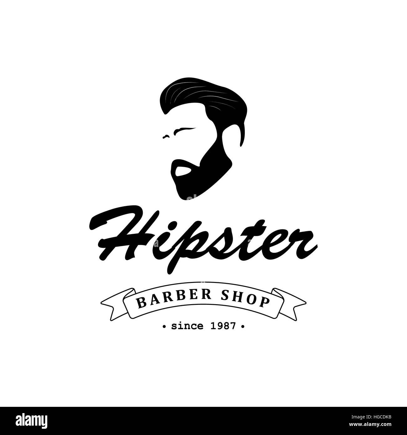 Logo Für Friseur Friseursalon Mit Hipster Kopf Und Friseur Schere