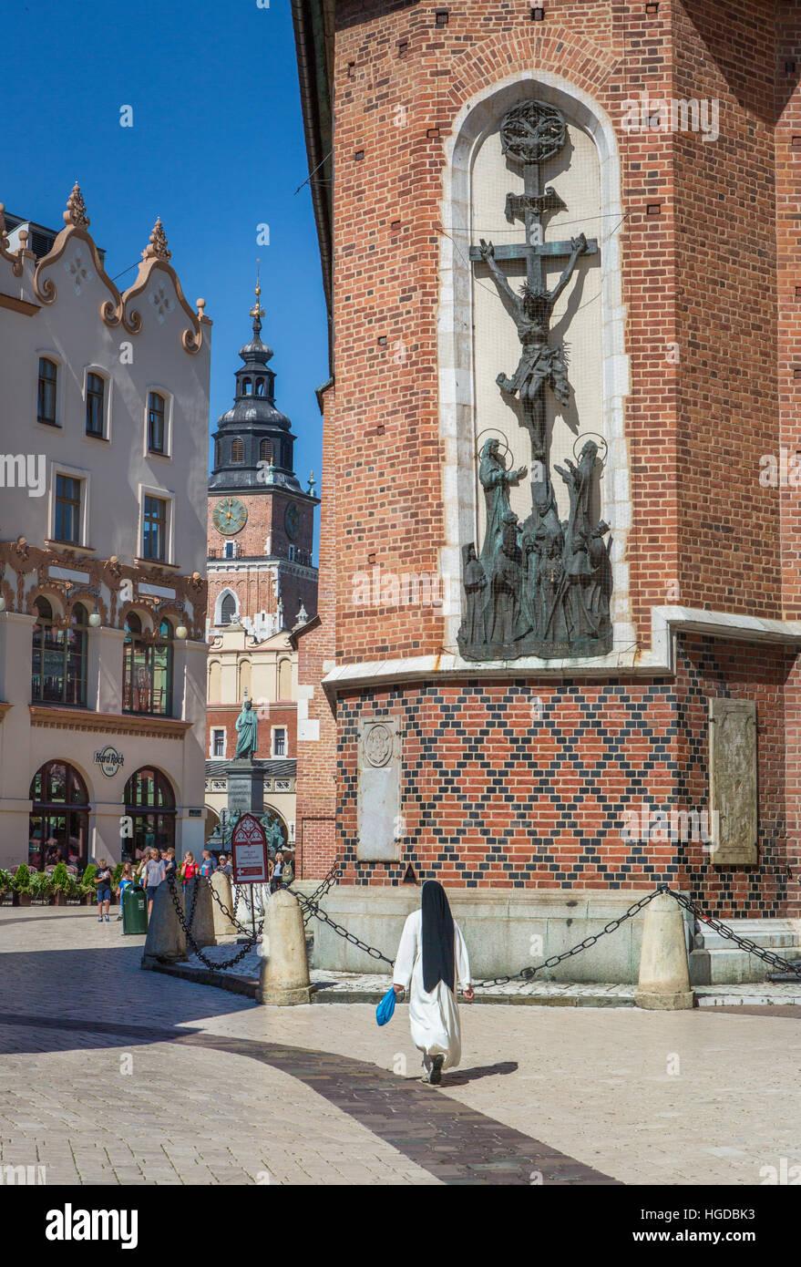 Rathausturm am Marktplatz in Krakau Stockbild