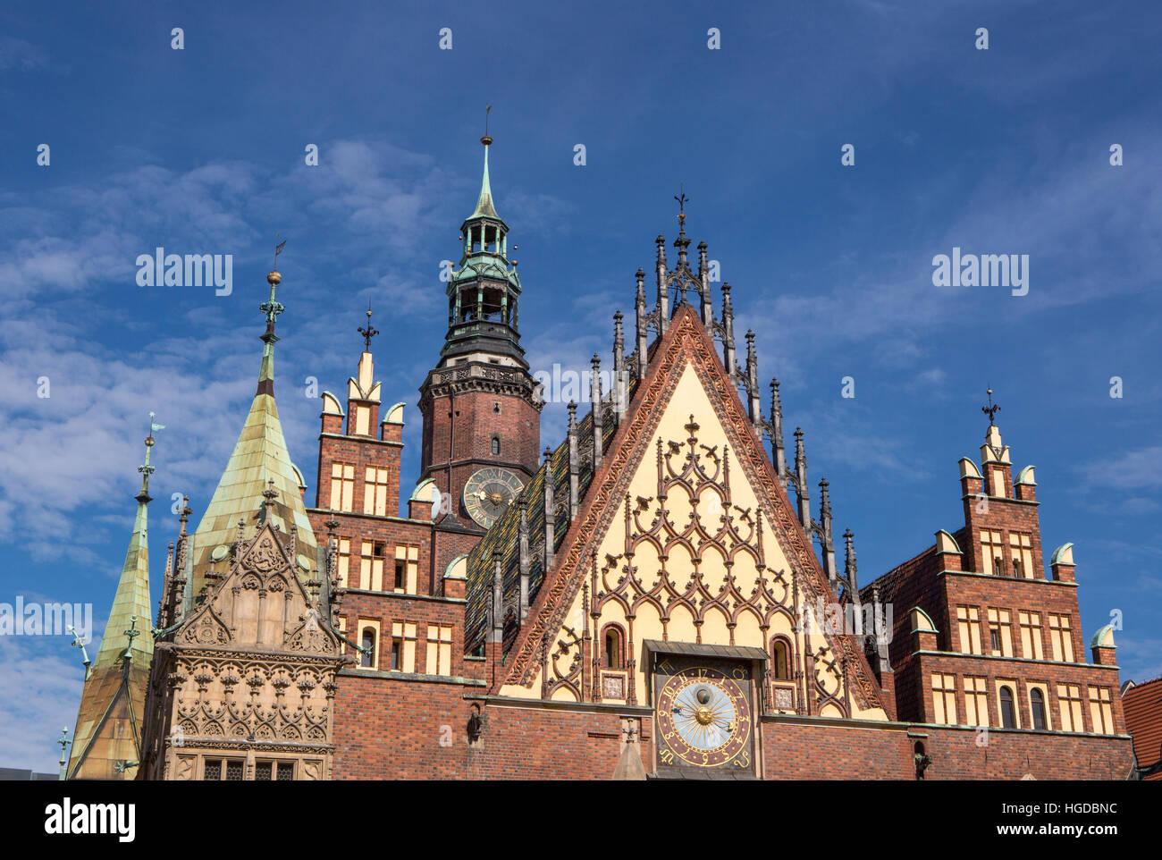 Rathaus in Breslau Stadt Stockbild