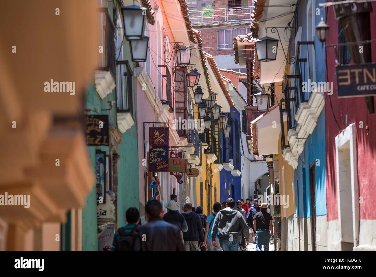 Koloniale Viertel Calle Apolinar Jean in La Paz, Stockbild