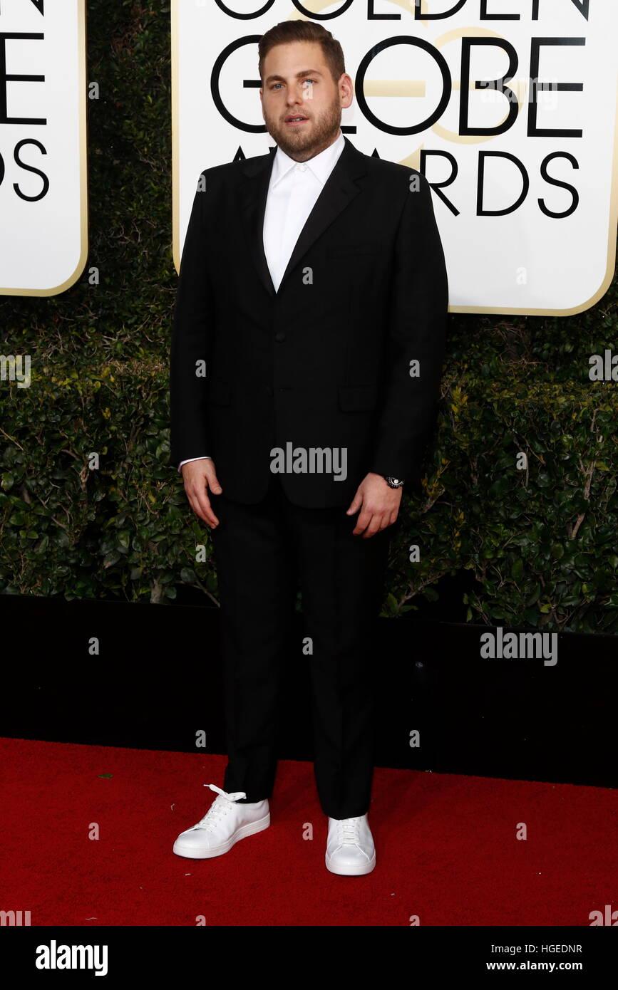 Los Angeles, Kalifornien, USA. 8. Januar 2017. Beverly Hills, uns. 8. Januar 2017. Jonah Hill kommt bei der 74. Stockbild